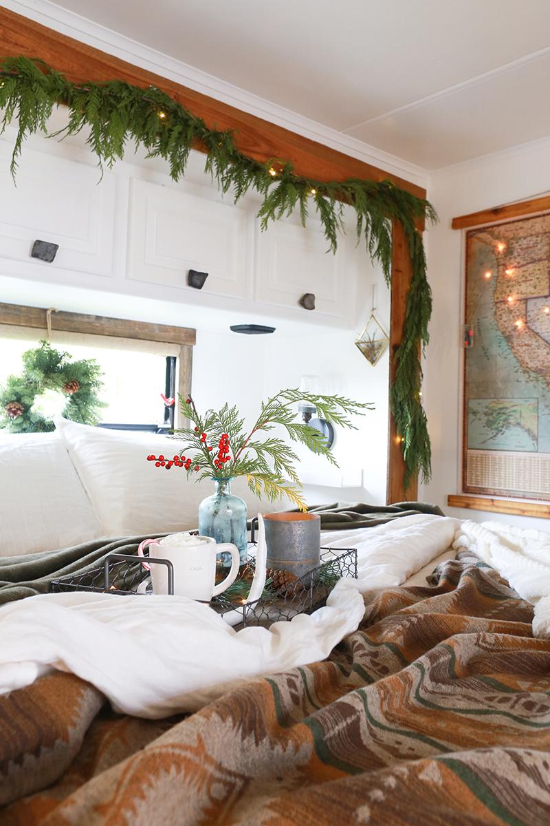 Christmas decor in RV bedroom