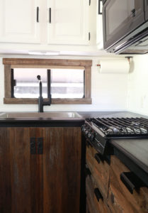 Renovated RV Kitchen with reclaimed cabinets