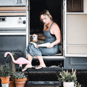 This couple lives on a blueberry farm in their bohemian-inspired RV! View the tour from @TheRamblrRV on MountainModernLife.com