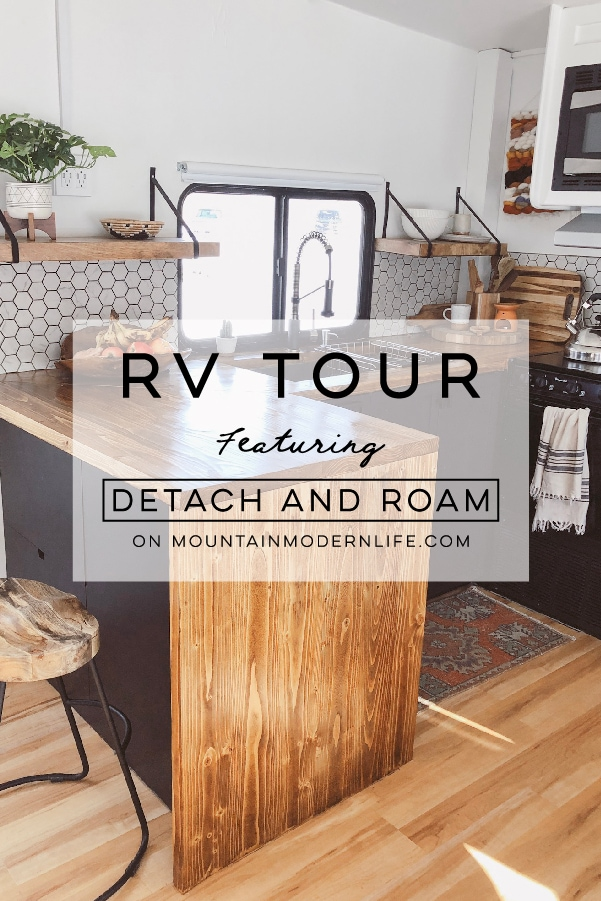 Tour this Modern RV Remodel filled with ScandinavianCoziness from Detach and Roam! Featured on MountainModernLife.com