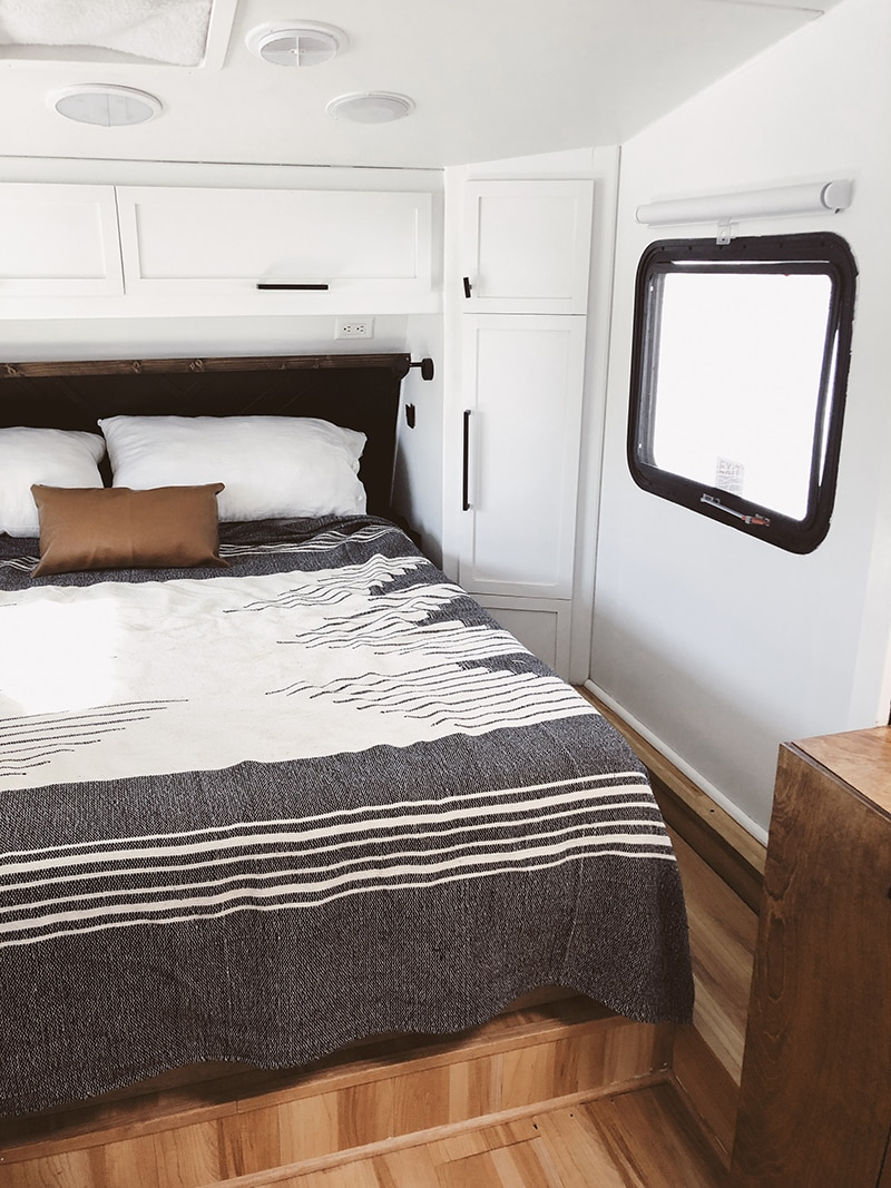 Modern Cozy RV Bedroom Renovation from Detach and Roam - Featured on MountainModernLife.com