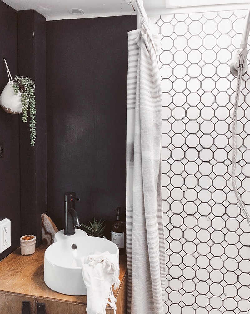 Modern Cozy RV Bathroom Renovation from Detach and Roam - Featured on MountainModernLife.com