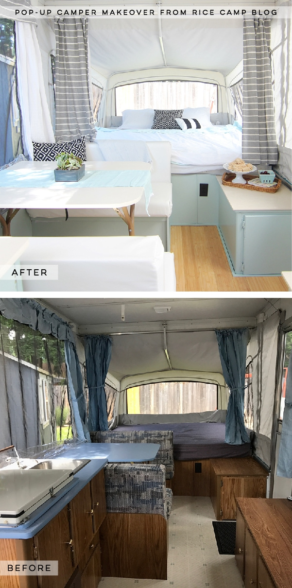 This pop-up camper makeover is bright, airy, and ready for summer! Photo from Rice Camp Blog | Featured on MountainModernLife.com