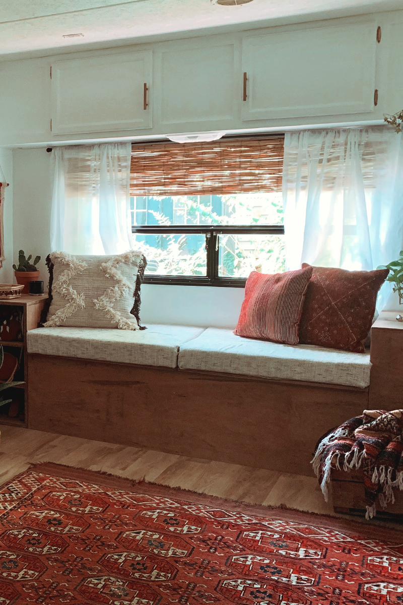 The muted earth tones in this eclectic camper will have you dreaming of the desert   Featuring @madefreeco on MountainModernLife.com