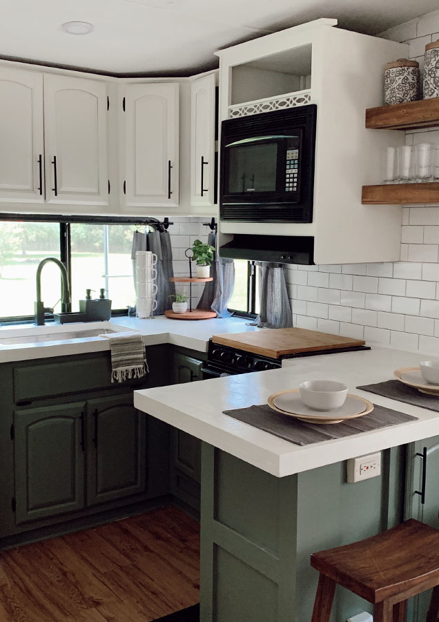 5th Wheel Kitchen remodel with green cabinets