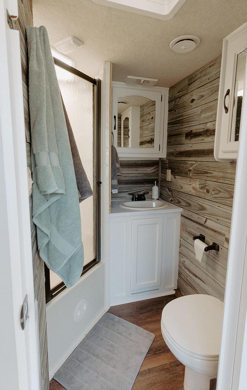 RV Bathroom Renovation from @meganleannjones - Featured on MountainModernLife.com