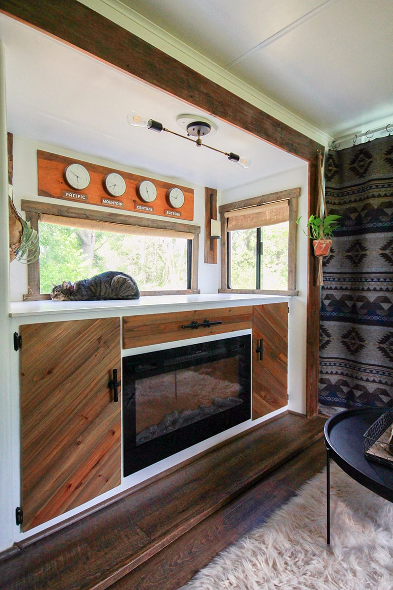 RV interior with custom light fixture | mountainmodernlife.com