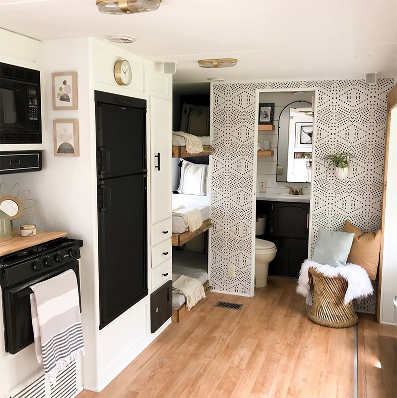 This Nashville Couple brings new life to outdated campers! Come see the before and after photos of their Forest River RV transformation! Featuring @bestofourtodays on MountainModernLife.com