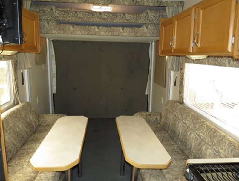 Toy Hauler Renovation Before Photo from @FoxandTimber