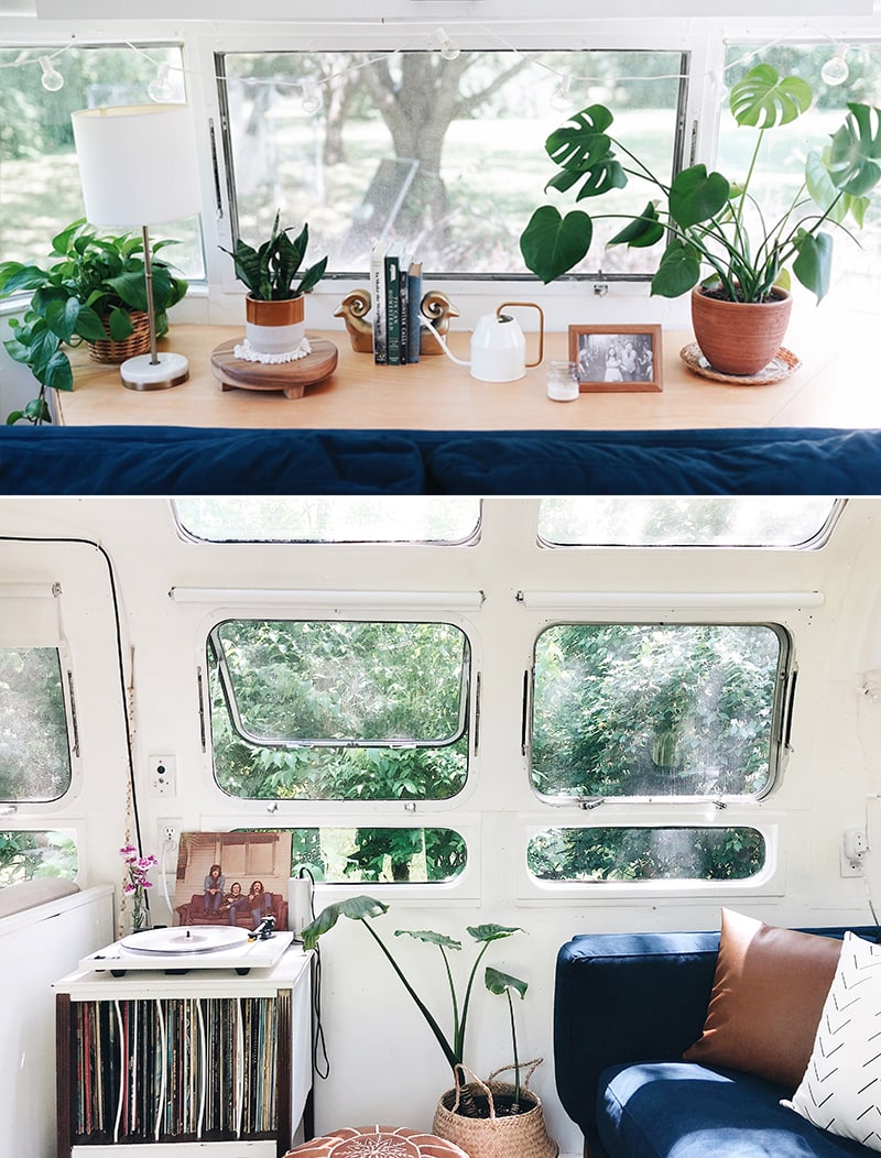 Plants inside Airstream from @provencher_adventure