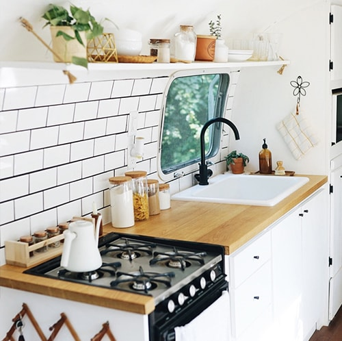 Renovated Airstream Kitchen from @provencher_adventure