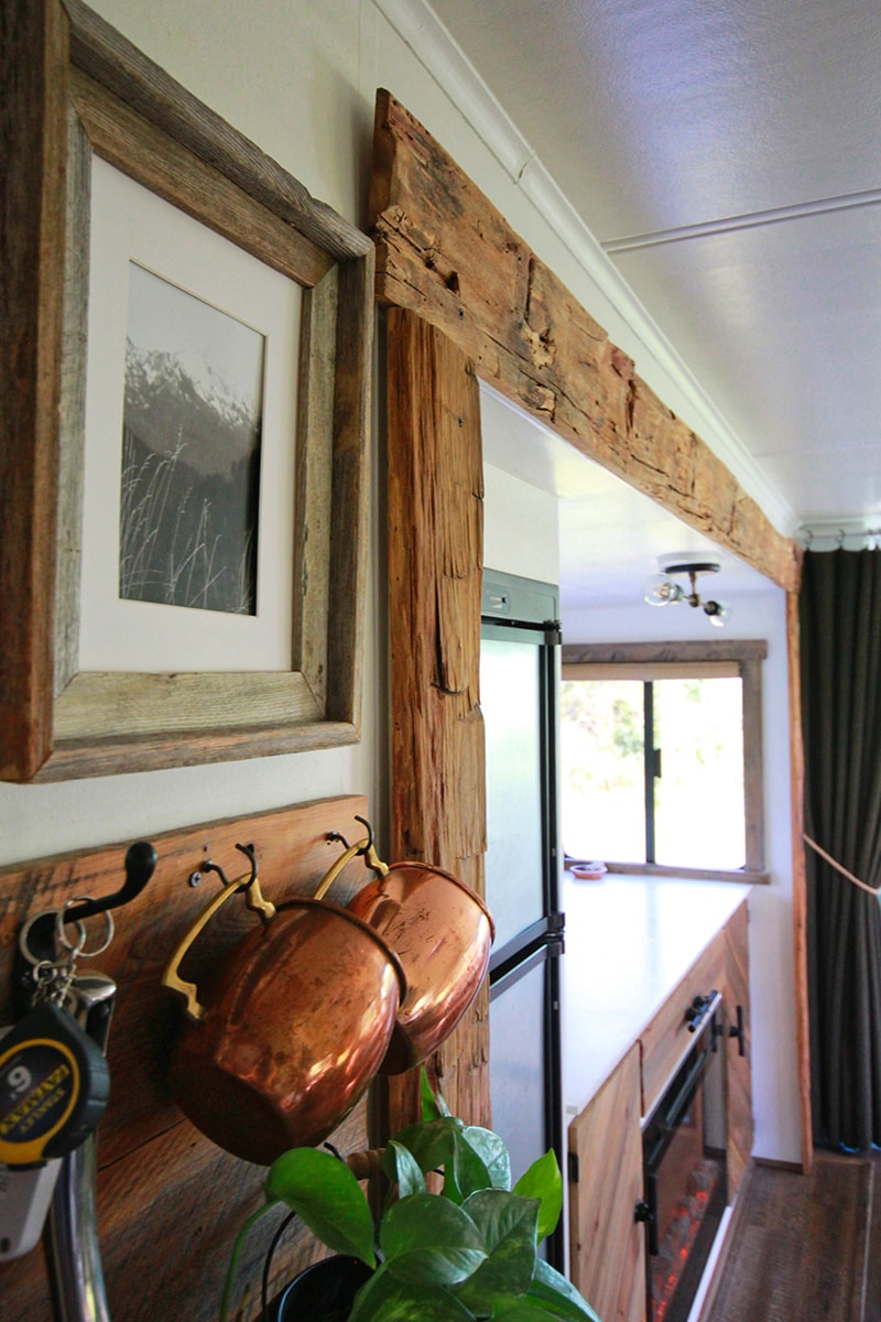 using reclaimed rough-hewn barnwood inside RV