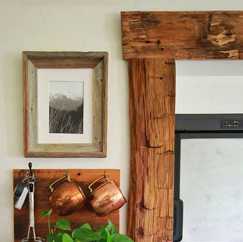 Reclaimed wood around RV slide-out