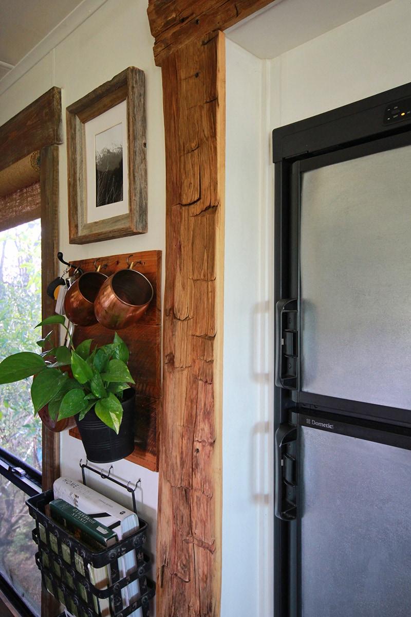 Updated RV interior using reclaimed wood