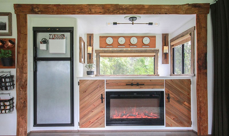 RV with hand-hewn barnwood from the 1800's