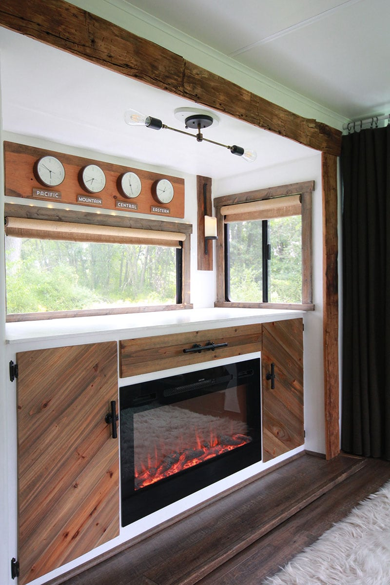 Rustic fireplace inside RV