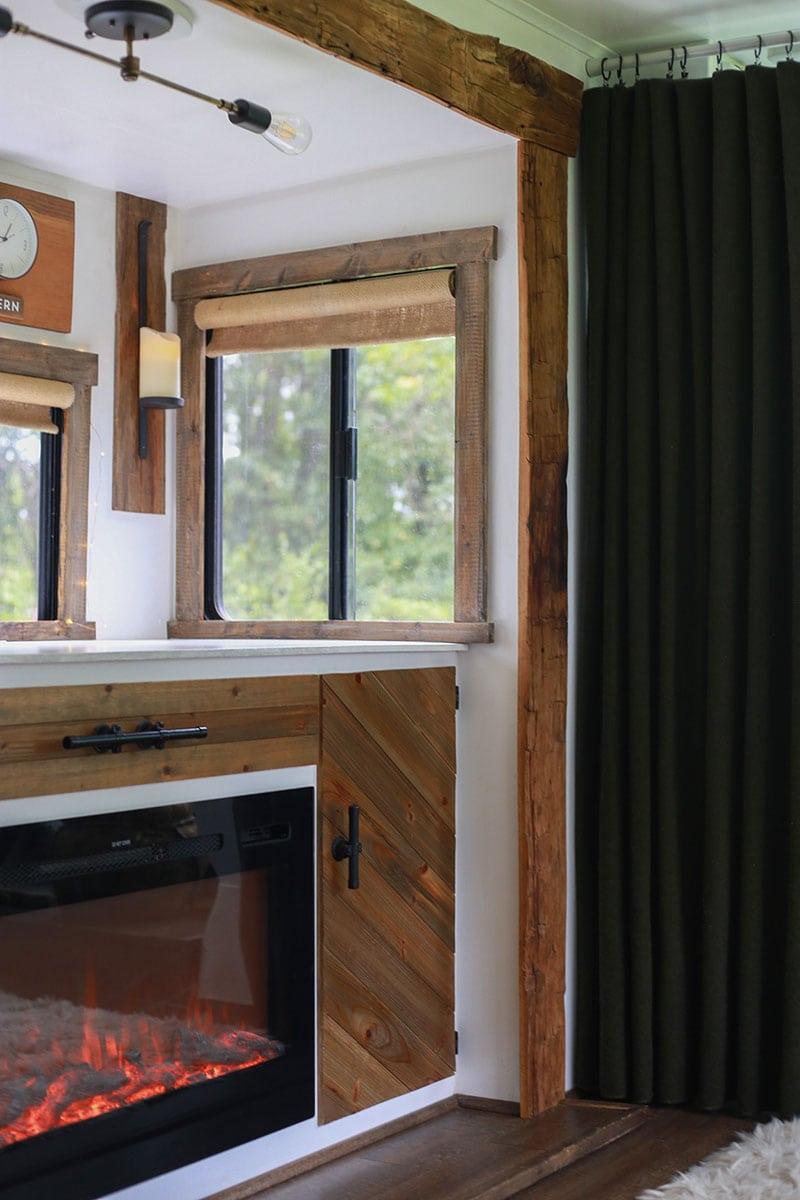 Green wool curtains inside RV