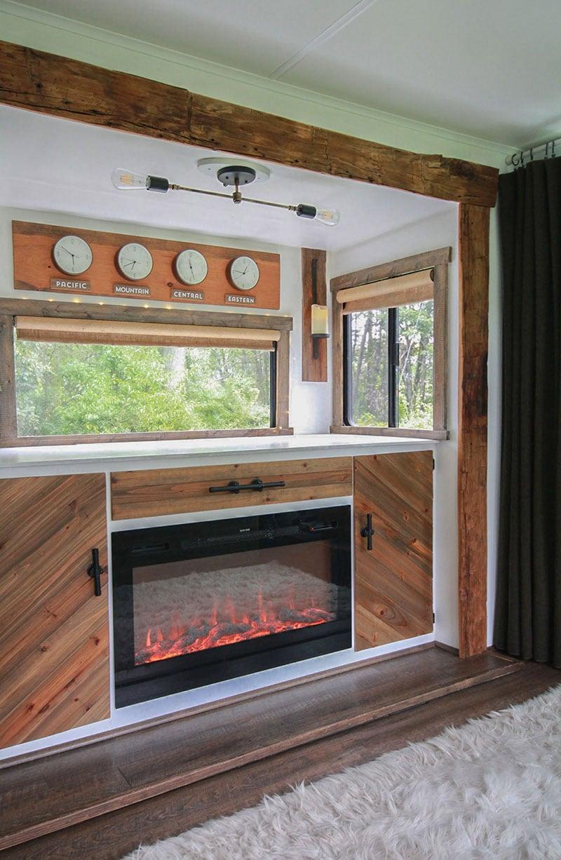 RV custom media cabinet with fireplace