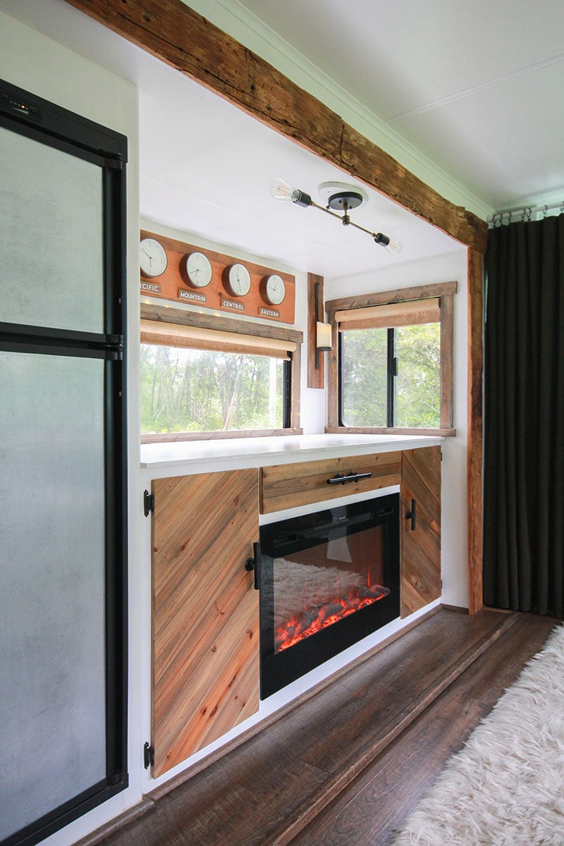 Updated RV fridge and slide-out with reclaimed wood
