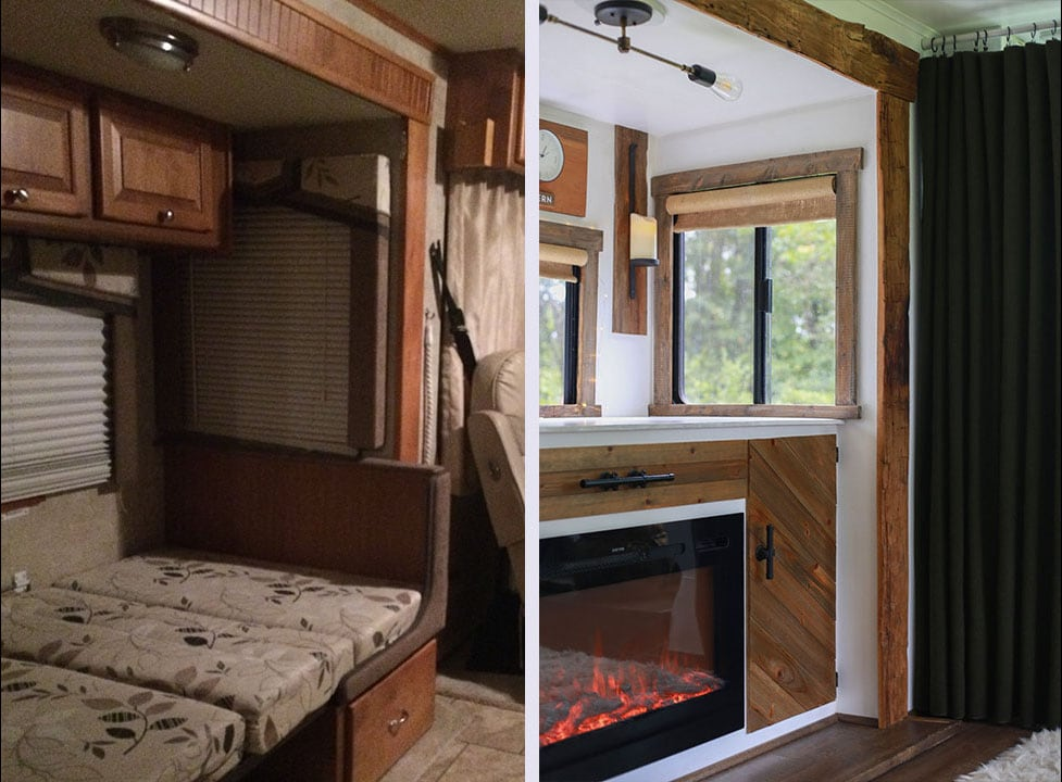 RV slide-out before and after