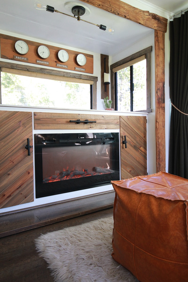 RV interior updated with reclaimed materials