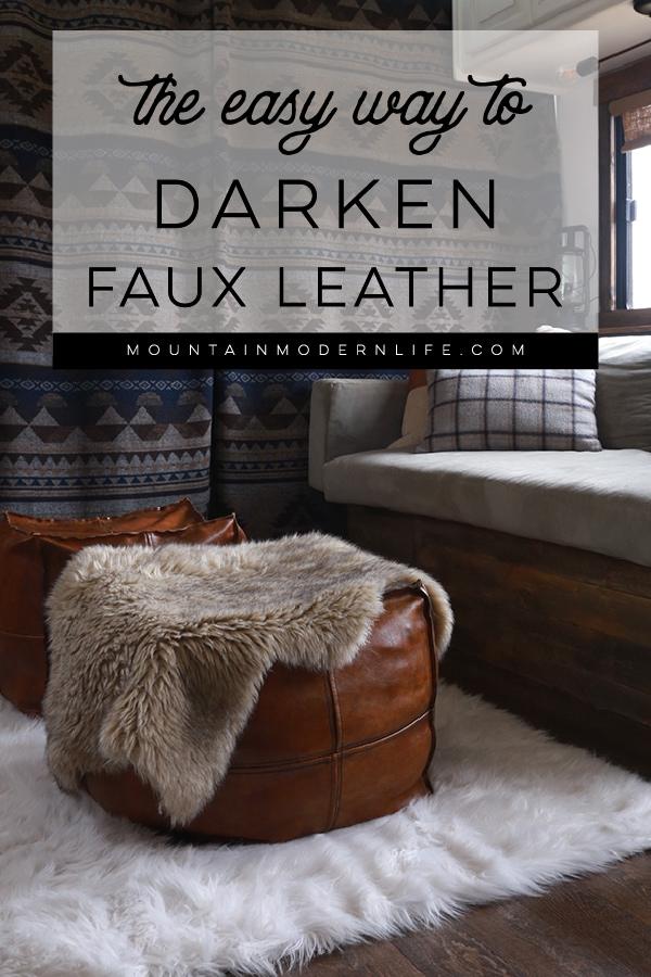 Faux leather pouf ottomans inside RV