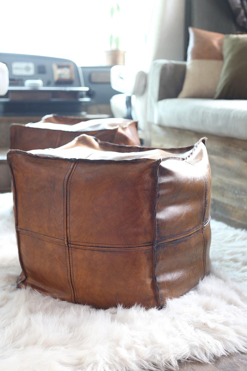 faux leather poufs