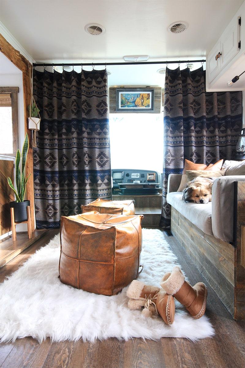 Rustic Modern RV living room