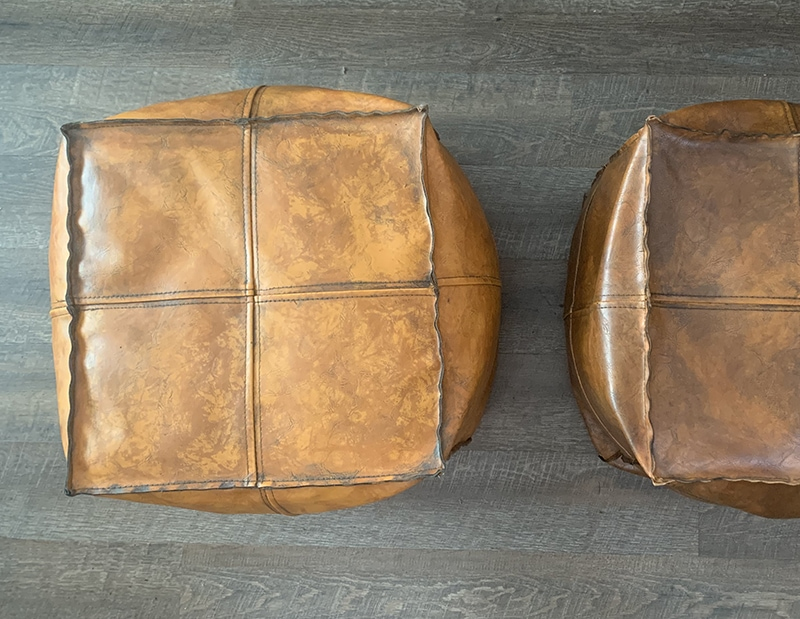 Removing acrylic paint from faux leather pouf with acetone