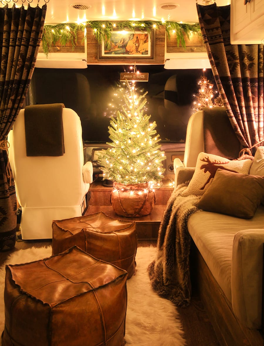 RV decorated for Christmas