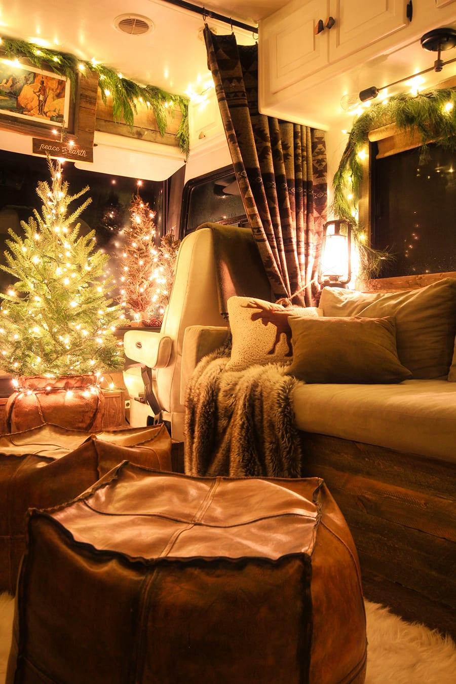 Christmas lights inside RV