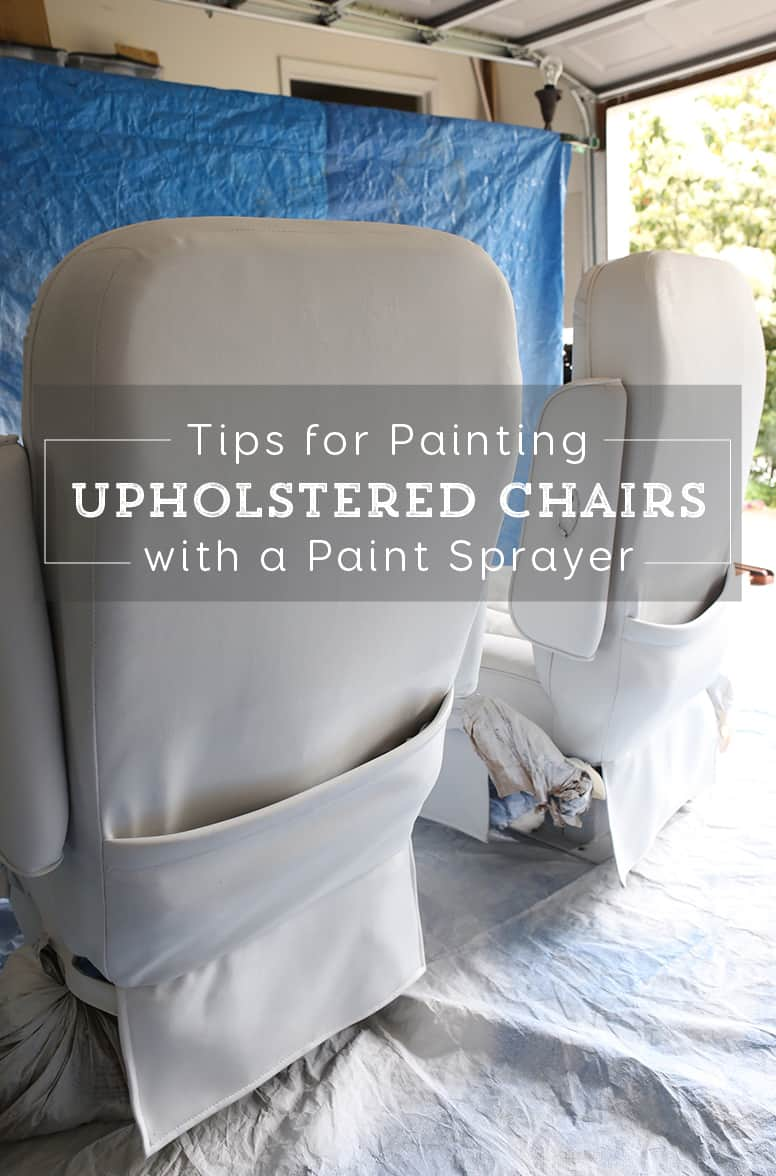 Thinking about painting vinyl or simulated leather furniture? Before you do be sure to check out this post with tips for painting an upholstered chair with a paint sprayer   MountainModernLife.com