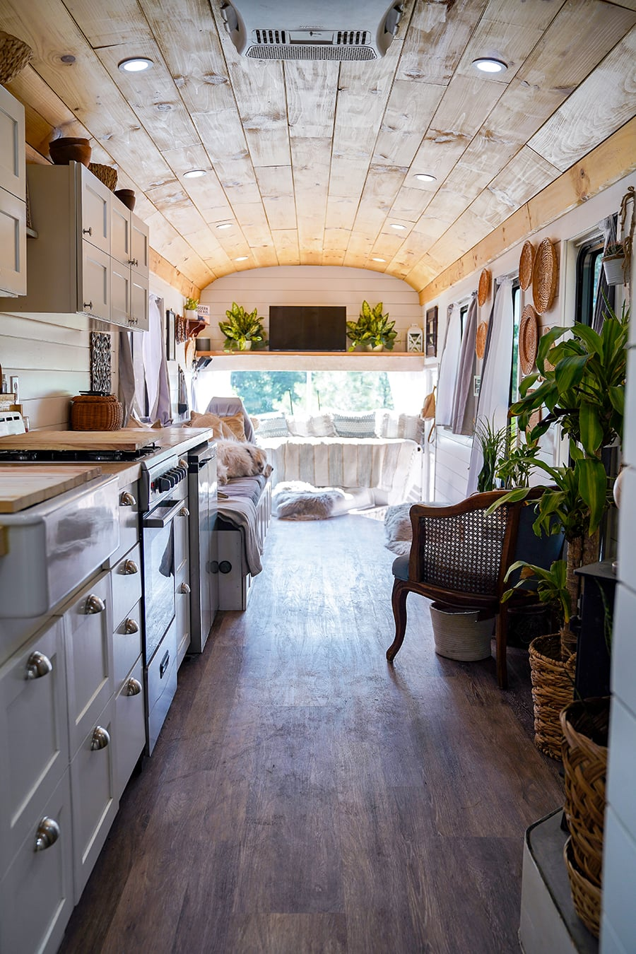 converted school bus with stunning interior