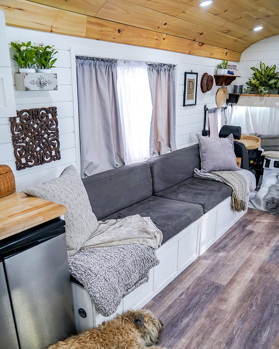 renovated school bus turned tiny home @happyhomebodies