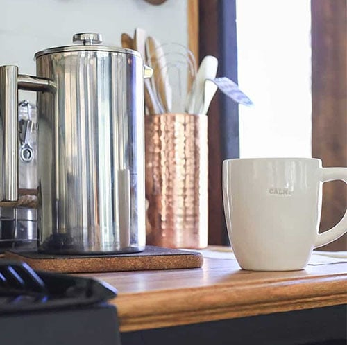 French Press in RV with Calm Mug