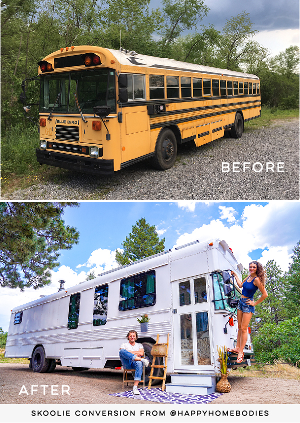 skoolie conversion before and after