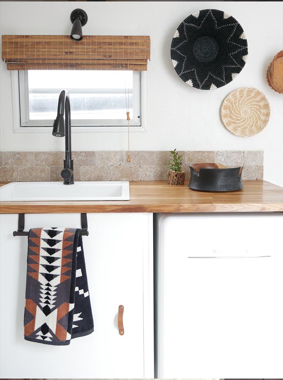 camper kitchen remodel with Pendleton hand towel