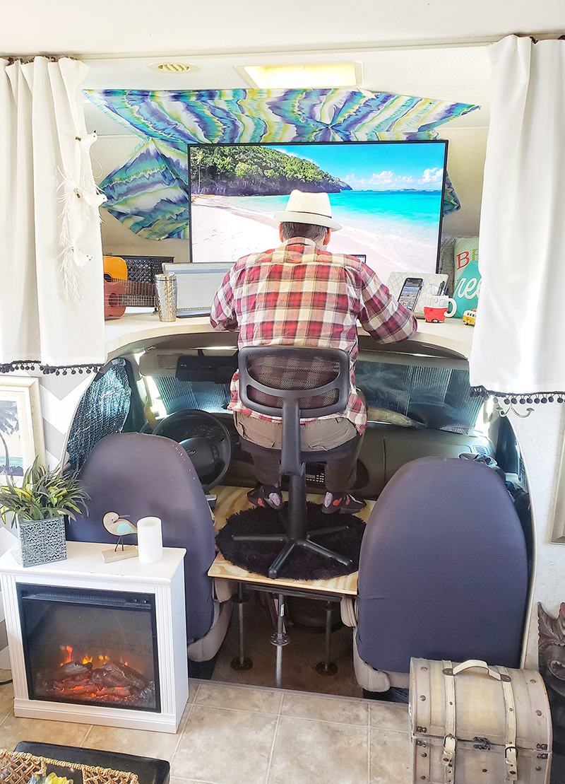 Creative RV desk idea