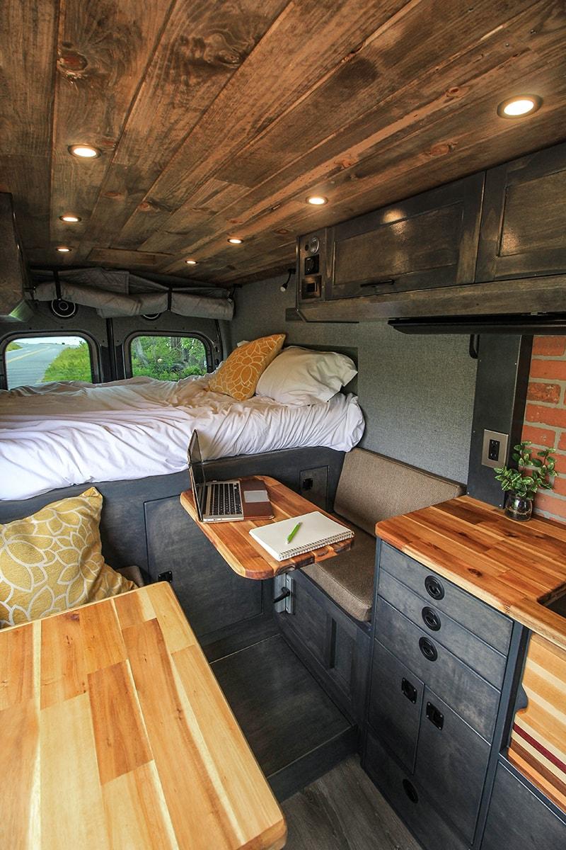 small space desk solution in van