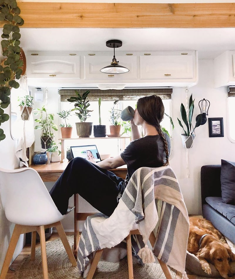 Mobile desk in RV with lots of plants