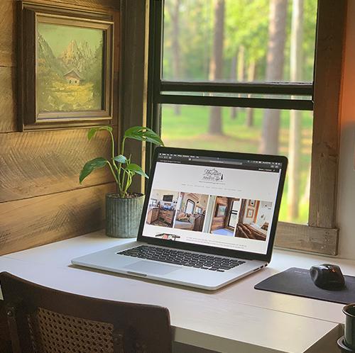 renovated RV desk setup