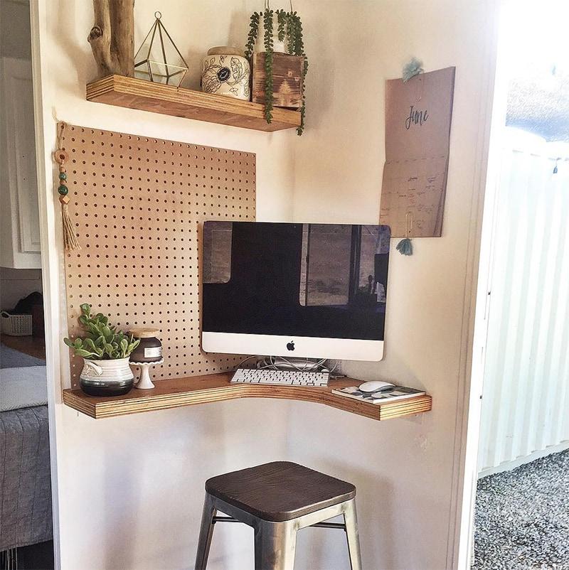 corner mobile desk in travel trailer