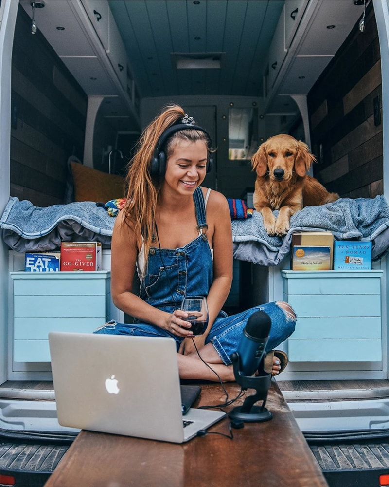 Van mobile office setup