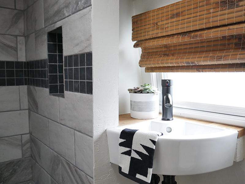 camper bathroom renovation with Pendleton hand towel