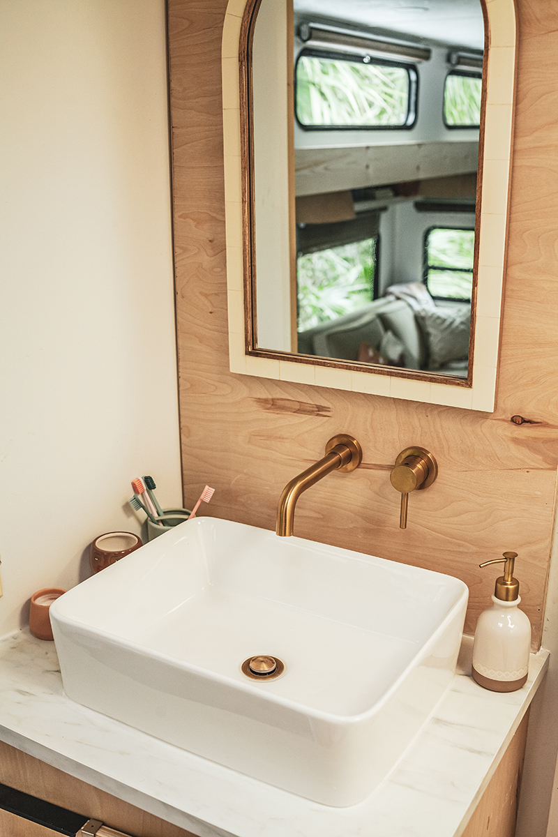 Modern RV Bathroom Renovation with wall-mounted faucet