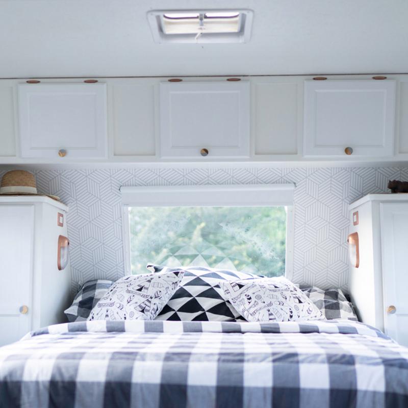 remodeled travel trailer bedroom