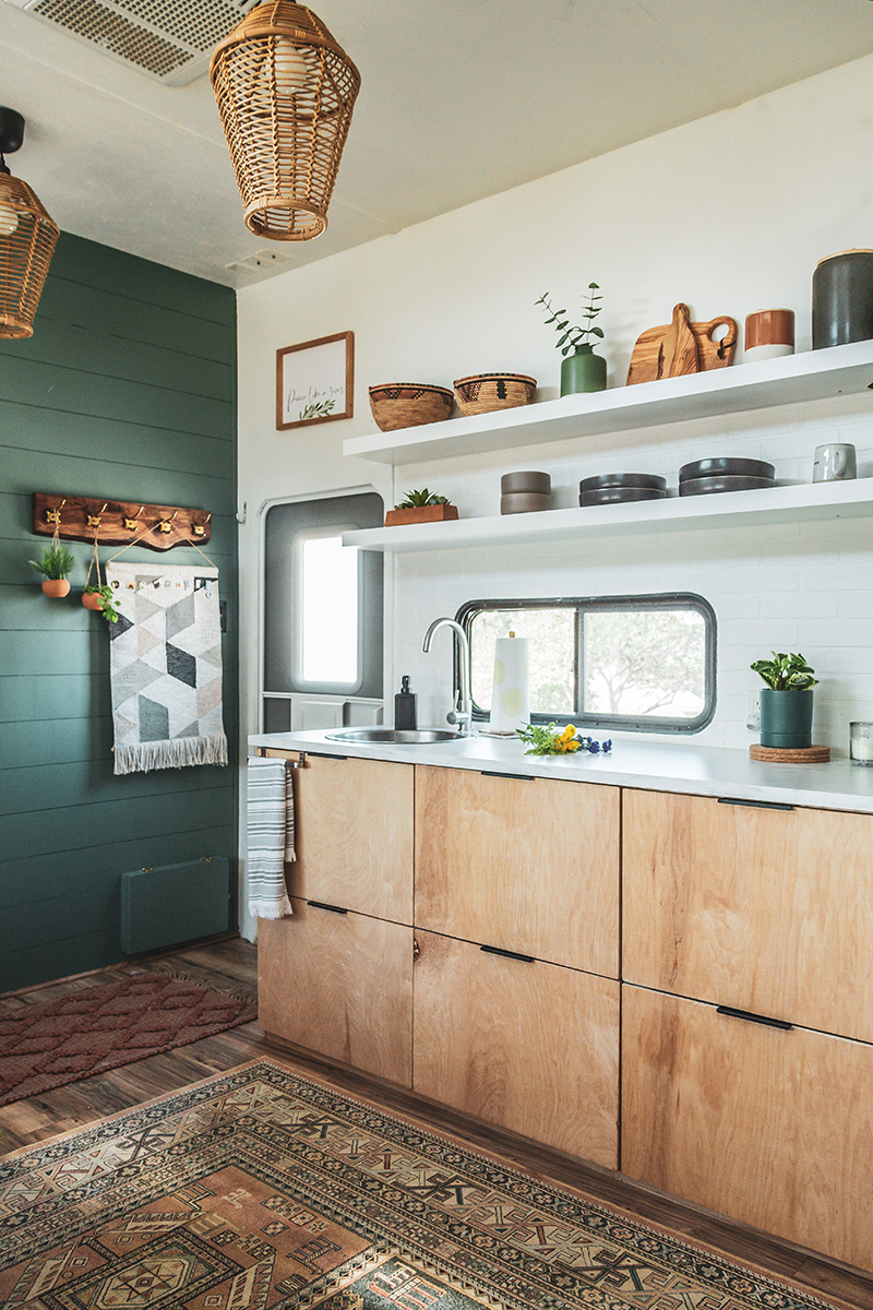 Toy Hauler Remodel with Modern Kitchen and Birch Plywood Cabinets