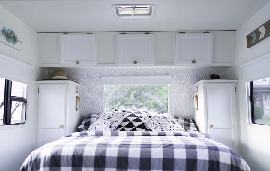 modern country remodeled travel trailer