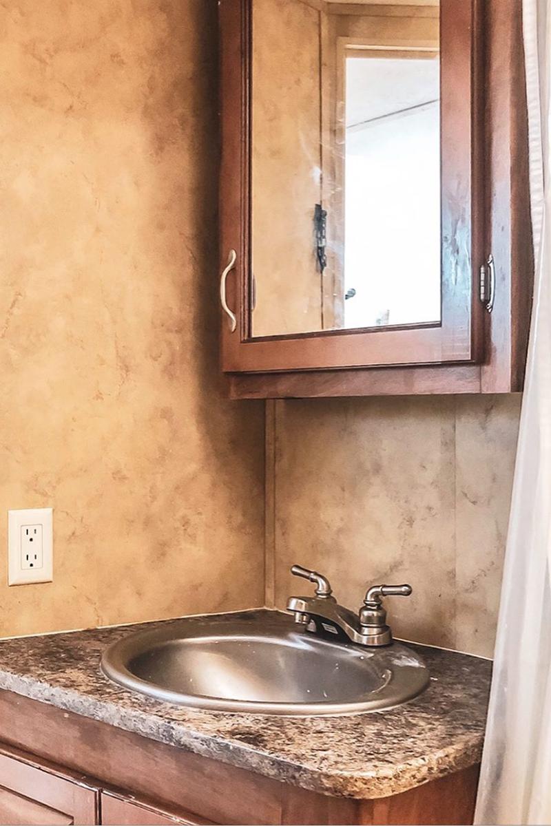 Keystone Toy Hauler Bathroom Interior before remodel