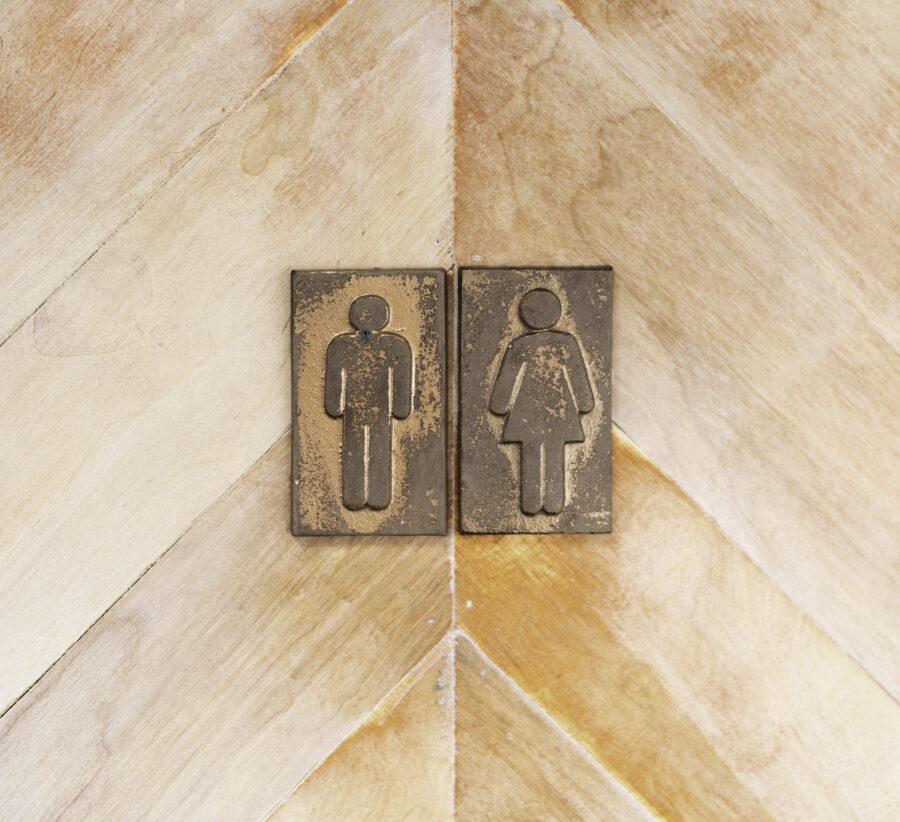 Quirky bathroom door inside camper